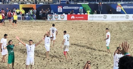 Beach soccer huawei intercontinental cup dubai uae BHMK sand supplier beach sand washed sand